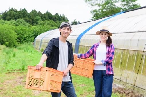 農業をする夫婦