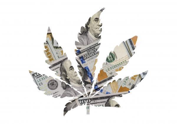 大麻とドル札