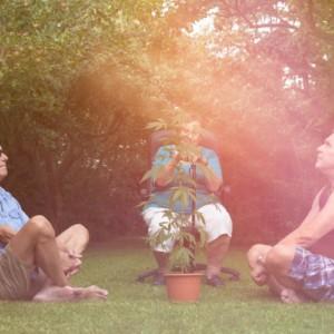 大麻を囲む男性達