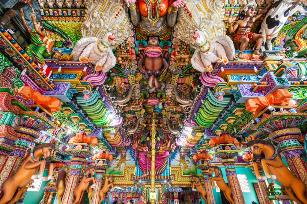 TRINCOMALEE, SRI LANKA - FEBRUARY 15, 2017: Pathirakali Amman Temple or Pathrakali Ambal Kovil interior. It's a Hindu temple dedicated to goddess Bhadrakali, form of goddess Kali Amman.