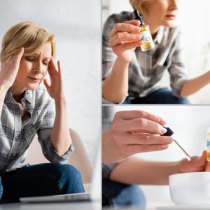 頭痛でCBDオイルを摂取する女性